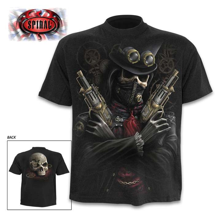 Steam Punk Bandit Black T-Shirt - Top Quality 100 Percent Cotton, Original Artwork, Azo-Free Reactive Dyes