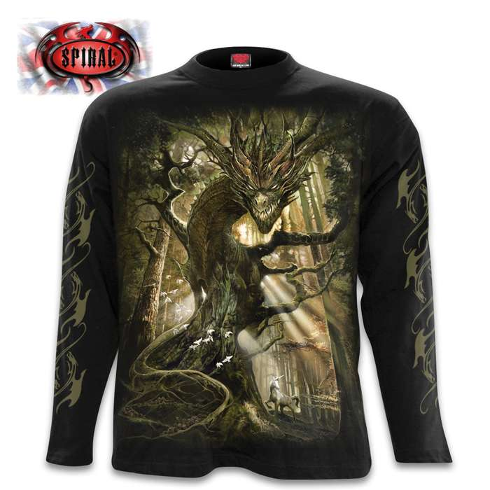 Dragon Forest Black Long-Sleeve T-Shirt - Top Quality 100 Percent Cotton, Original Artwork, Azo-Free Reactive Dyes