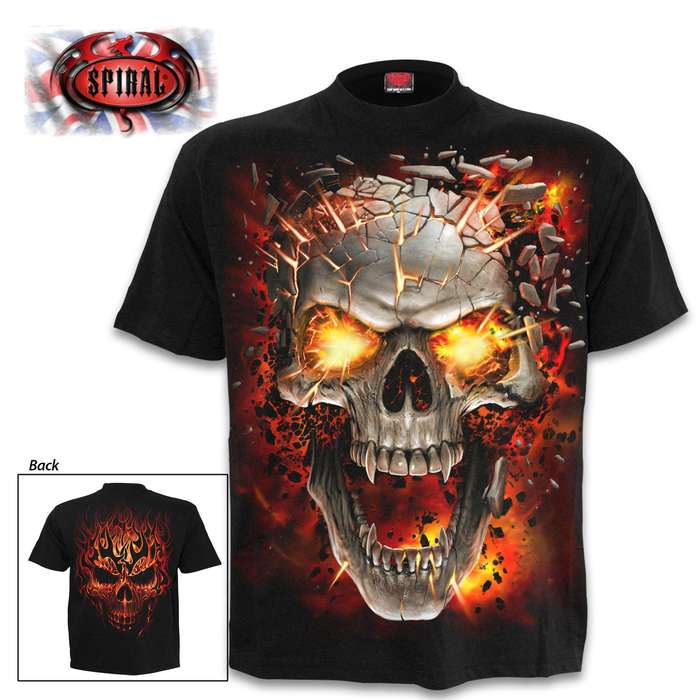Explosive Skull Blast Black T-Shirt - Top Quality Cotton Jersey Material, Azo-Free Reactive Dyes, Original Artwork