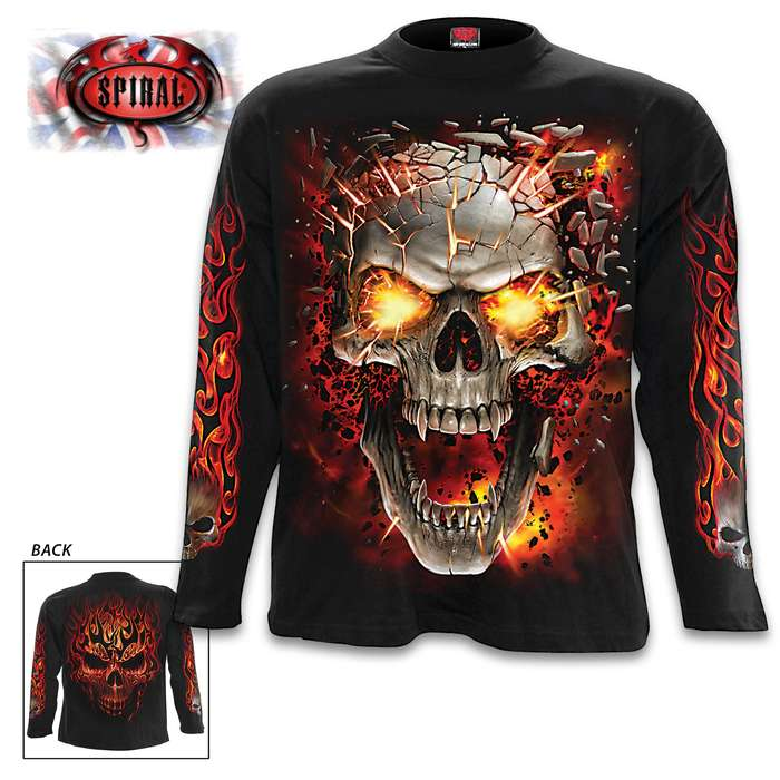 Explosive Skull Blast Black Long-Sleeve T-Shirt - Top Quality Cotton Jersey Material, Azo-Free Reactive Dyes, Original Artwork
