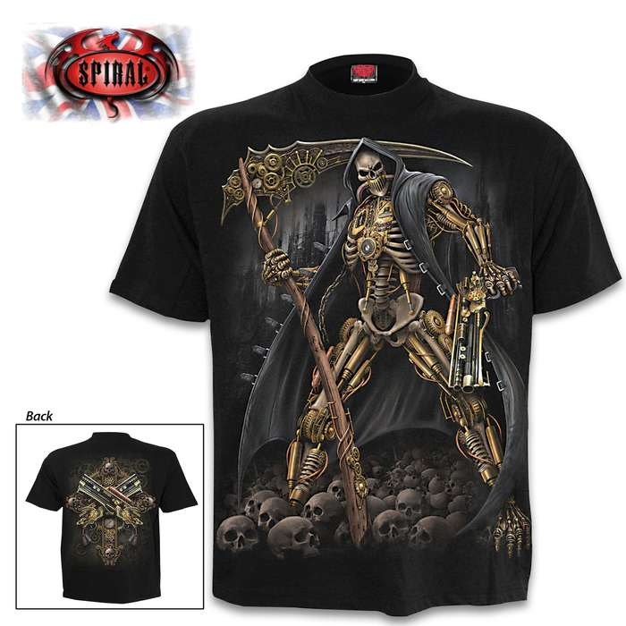 Steampunk Skeleton Black T-Shirt - Top Quality Cotton Jersey Material, Azo-Free Reactive Dyes, Original Artwork