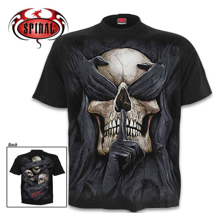 See No Evil Black Short-Sleeved T-Shirt - Top Quality Cotton Jersey Material, Azo-Free Reactive Dyes, Original Artwork
