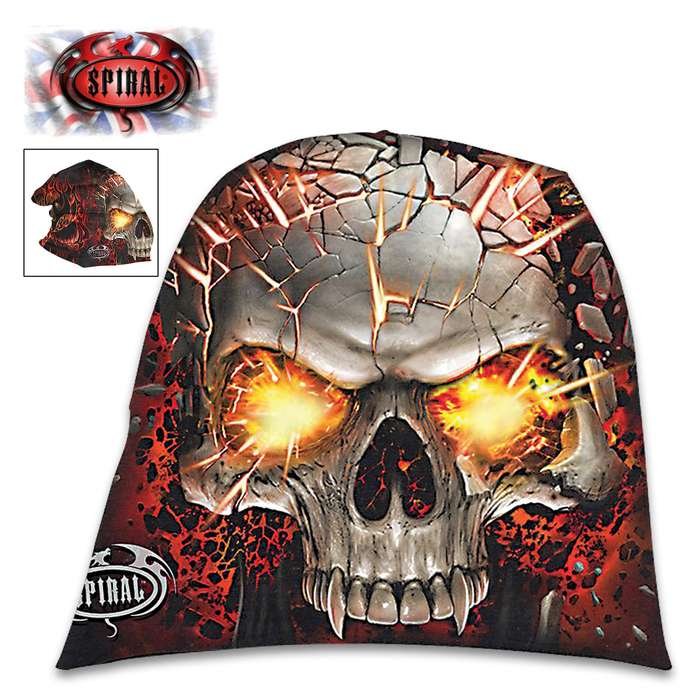 Skull Blast Light Cotton Black Beanie - Hat, Light Cotton Jersey Construction, Azo-Free Reactive Dyes, Original Artwork