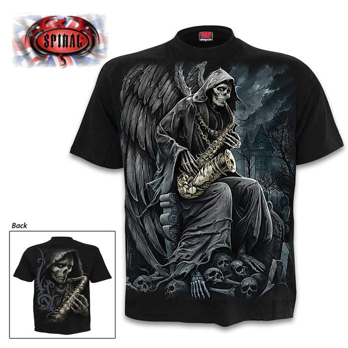 Reaper Blues Black T-Shirt - Top Quality 100 Percent Cotton Jersey, Original Artwork, Azo-Free Reactive Dyes