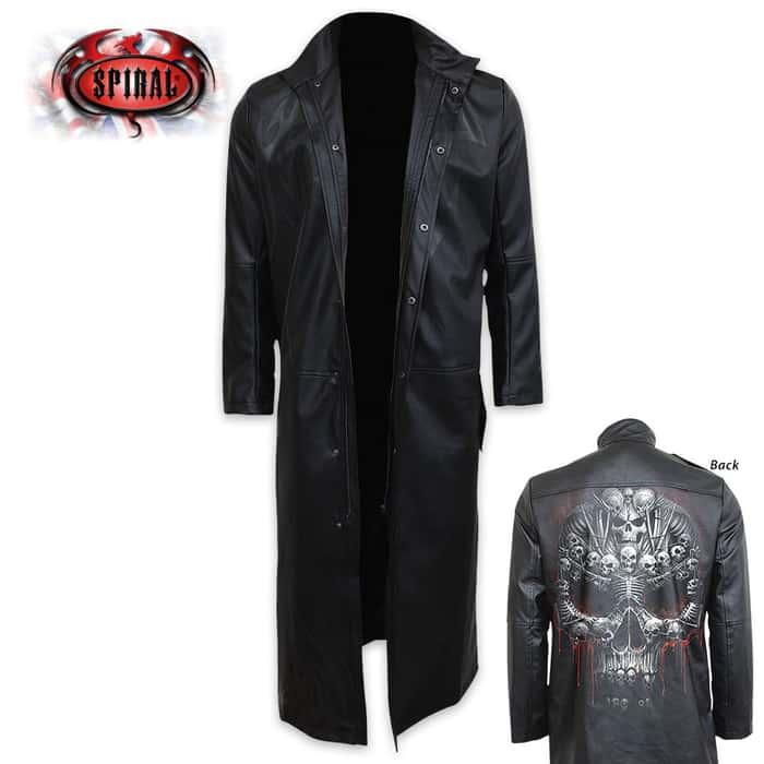 Death Bones Gothic Full Trench Coat