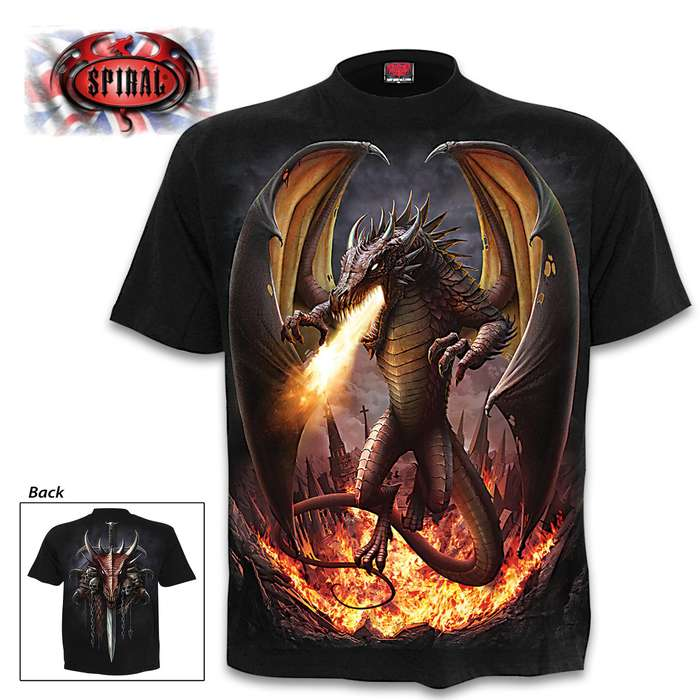 Draco Unleashed Black T-Shirt - Top Quality 100 Percent Cotton, Original Artwork, Azo-Free Reactive Dyes