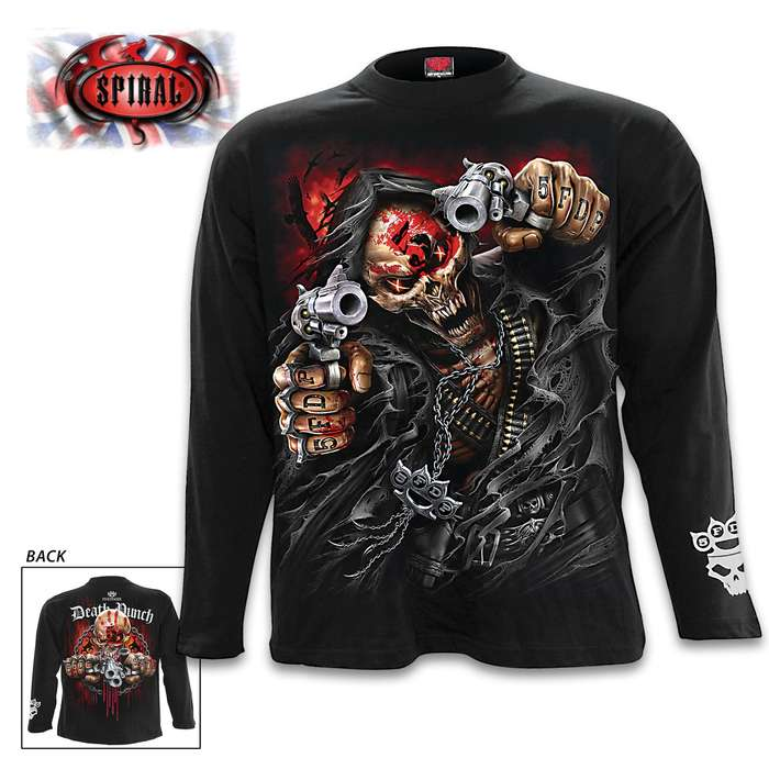 5FDP Assassin Black Long-Sleeve T-Shirt - Original Artwork, Front And Back, Jersey Material, Skin Friendly Dyes