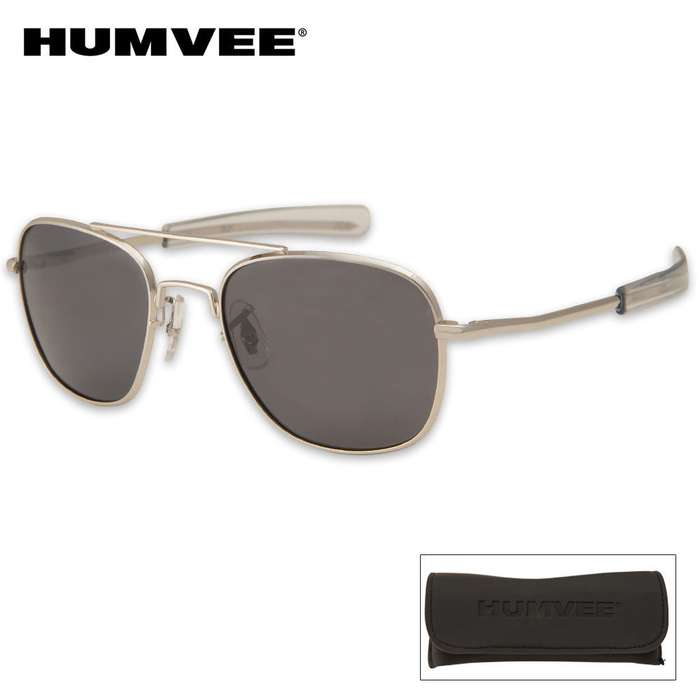Aviator Pilot Sunglasses - 52 mm Polarized - Silver