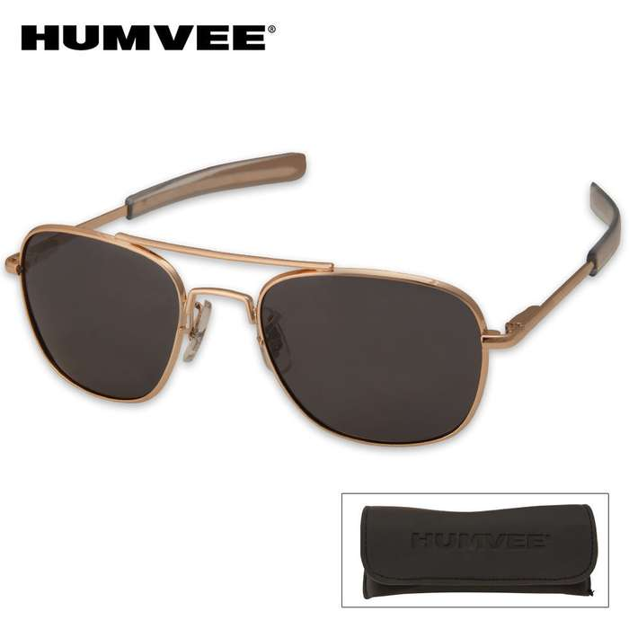 Aviator Pilot Sunglasses 52mm Polarized Gold