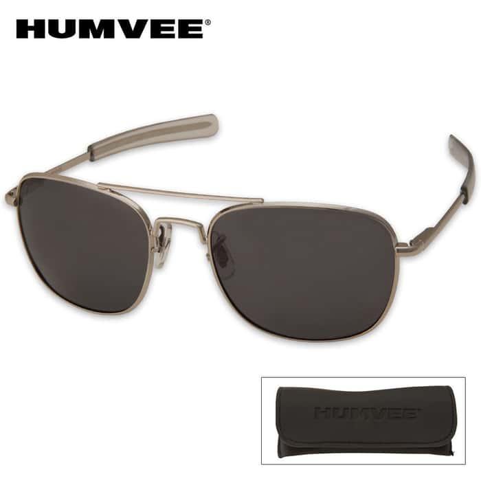 Aviator Pilot Sunglasses - 57 mm Polarized - Silver