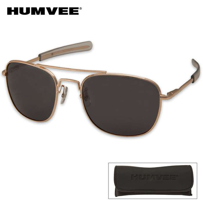 Aviator Pilot Sunglasses - 57 mm Polarized - Gold