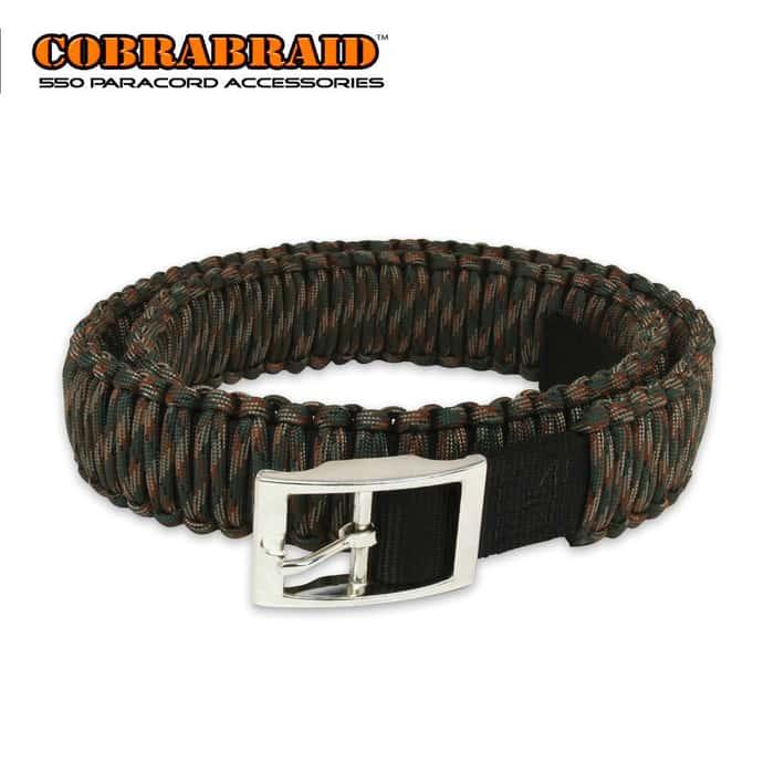 Cobrabraid 550lb Paracord Belt Woodland Camo