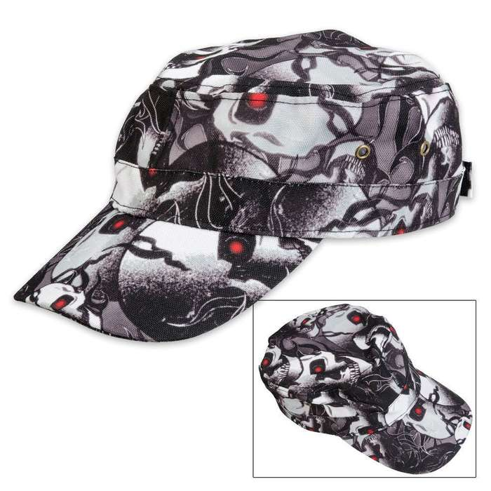 Casual Outfitters Red-Eyed Skull Design Cap