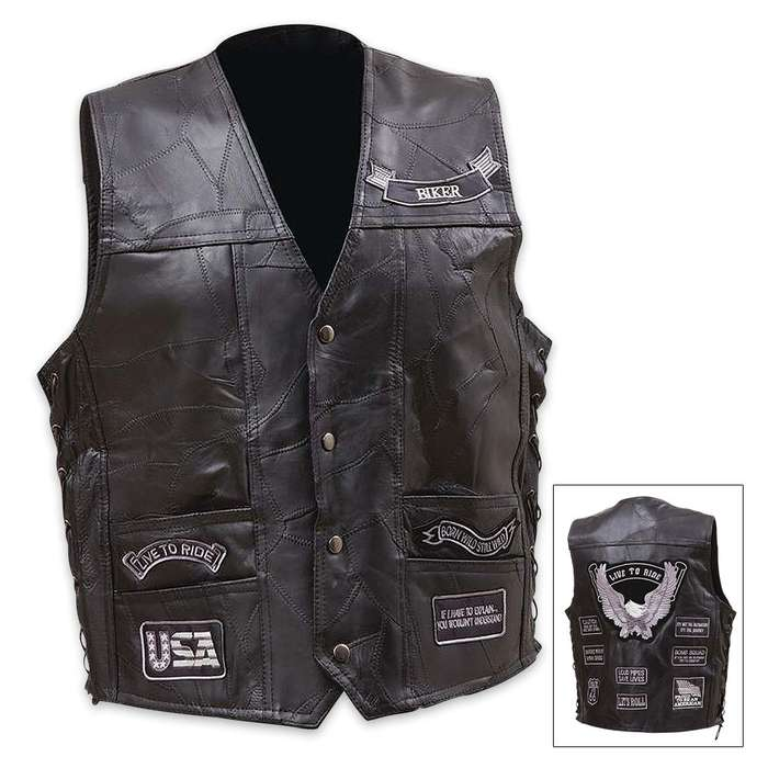Live To Ride Genuine Buffalo Leather Vest