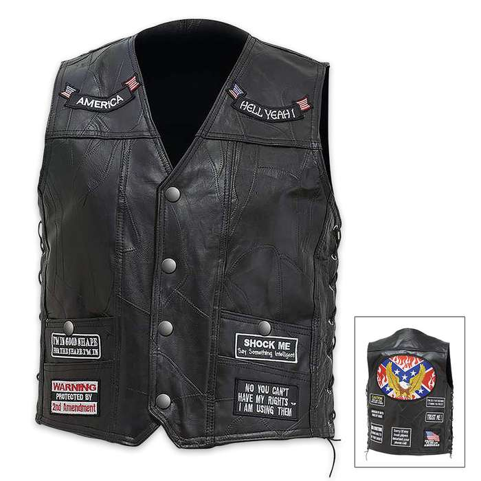 Rebel Eagle Genuine Buffalo Leather Vest
