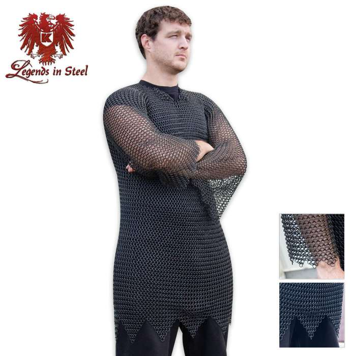Legends in Steel Black Chainmail mid length tunic armor