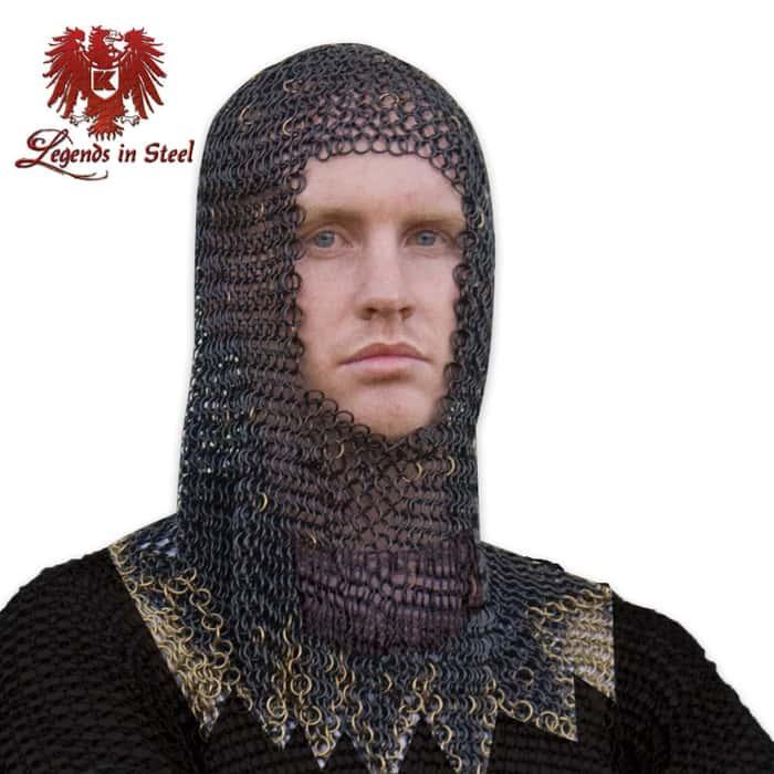 Legends in Steel Black Chainmail armor hood