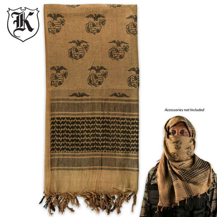 Globe Anchor Shemagh Head Wrap Coyote Brown