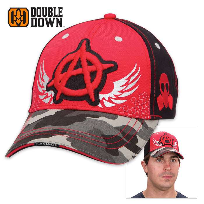 Double Down Anarchy and Chaos Cap - Red and Black Twill with Microfiber