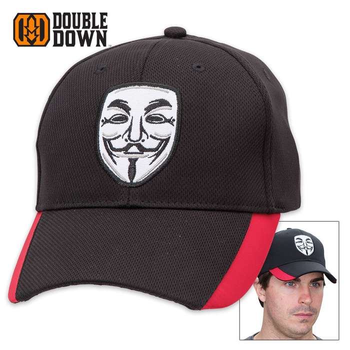 Double Down Guy Fawkes Disobey Anonymous Vendetta Cap - Black Light Twill