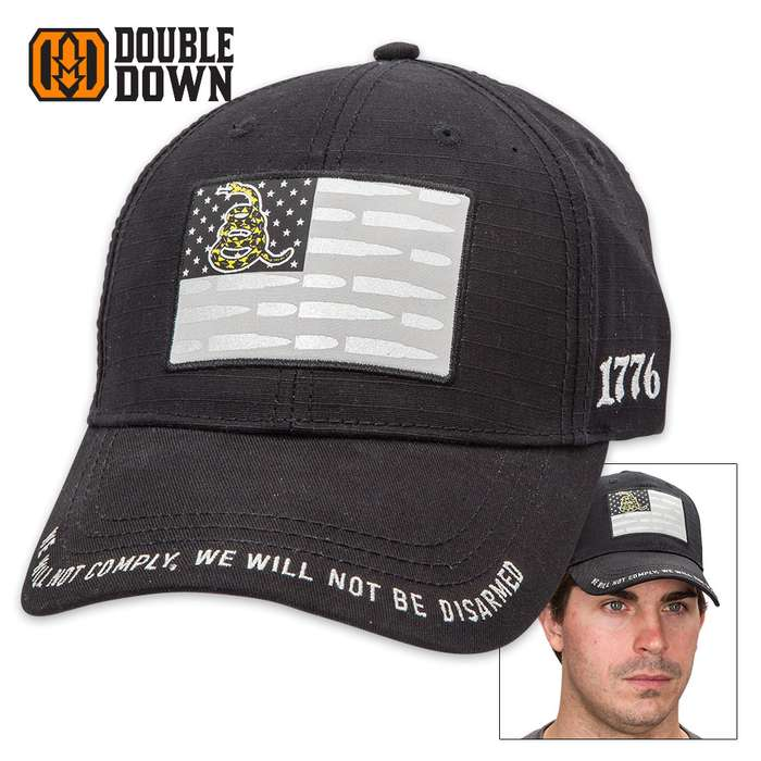 Double Down Liberty Bullet Flag III Percenters Black Brushed Cotton Twill Cap