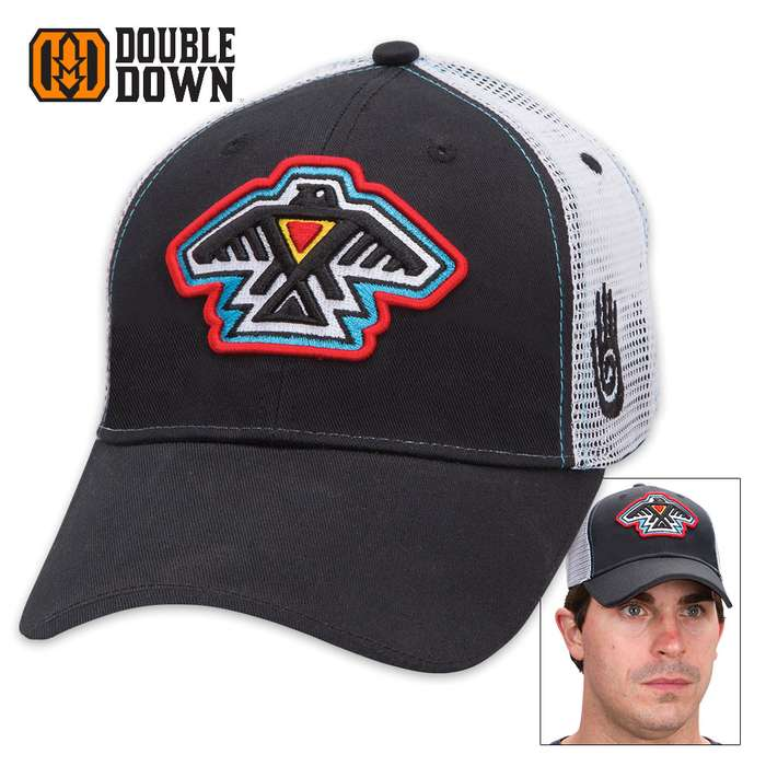 Double Down Native American Thunderbird Cap - Black Light Twill and White Polyester Mesh