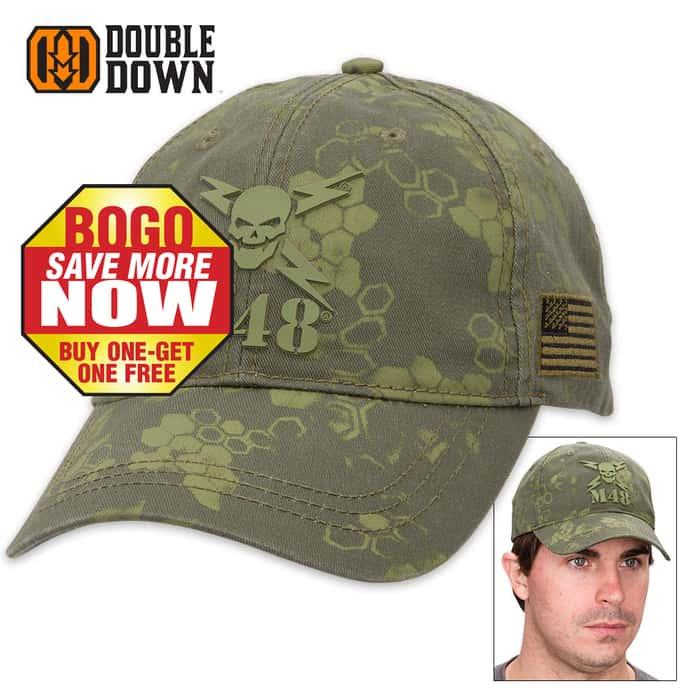 """Exclusive """"M48 Camo"""" Cotton Caps - Olive Drab - BOGO"""