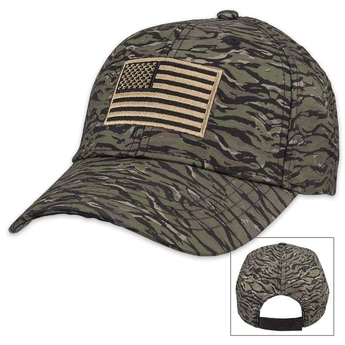 American Flag Vietnam Tiger Stripe Camo Cap - Hat