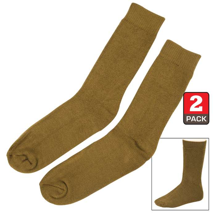 Olive Drab Bamboo Crew Socks -Moisture-Wicking, Odor-Resistant -  Natural Softness - Two Pairs