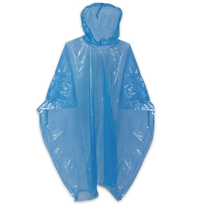 Reusable Blue Emergency Rain Poncho - Hooded - Compact And Lightweight, Polyethylene - One Size Fits All
