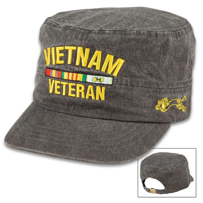 Grey Flat Top Vietnam Veteran Cap - Hat, 100 Percent Cotton Construction, Embroidered Design, Adjustable Band