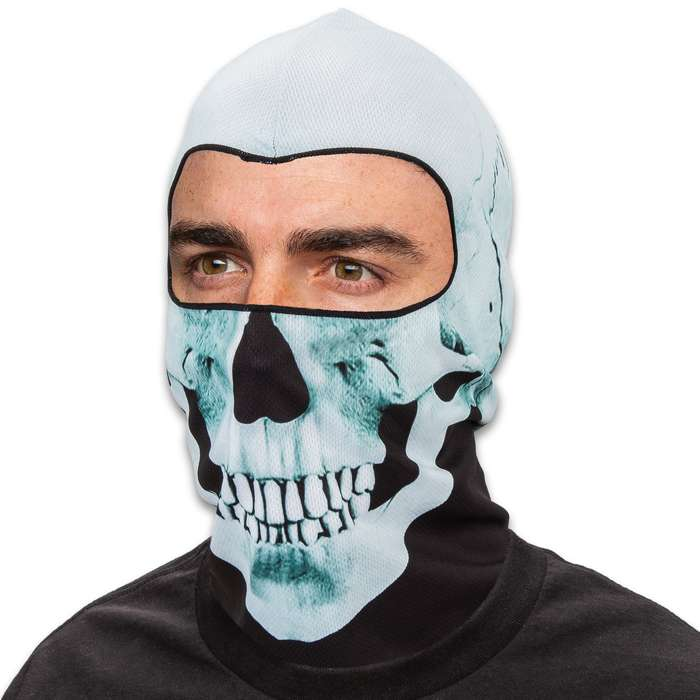 Skull Lightweight Balaclava Facemask - Soft And Stretchy Polyester Construction, Breathable, 3D Digital Printed - One Size Fits Most