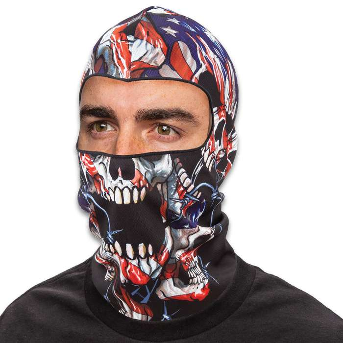 American Flag Skulls Lightweight Balaclava Facemask - Soft And Stretchy Polyester Construction, Breathable, 3D Digital Printed - One Size Fits Most