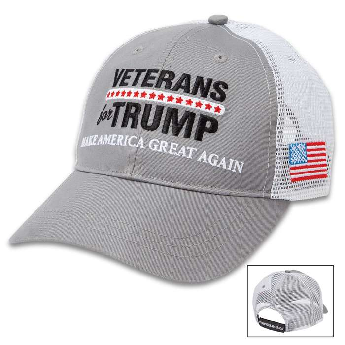 Veterans For Trump Hat - Trucker Style Cap, Cotton Twill Construction, Polyester Mesh Back, Velcro Back Strap