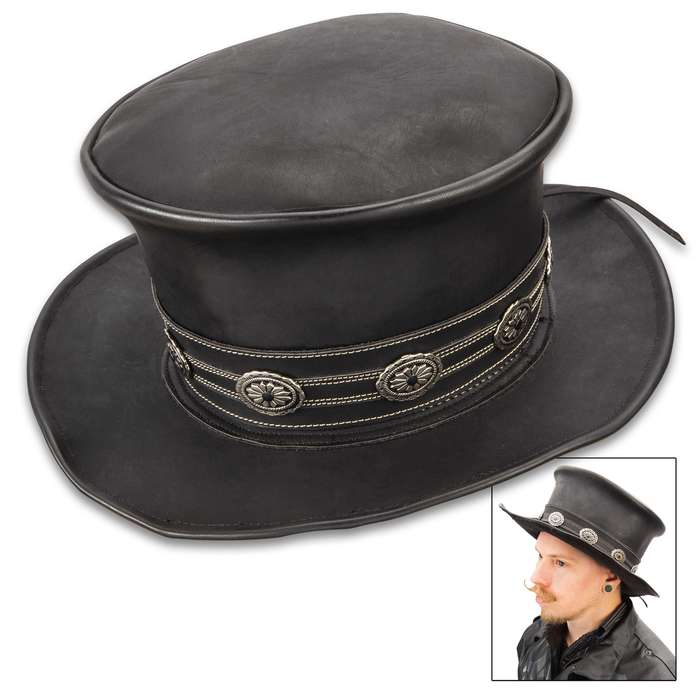 Hard Rockin Black Leather Top Hat - Genuine Leather, Removable Hatband, Metal Medallion Accents - Diameter 13""