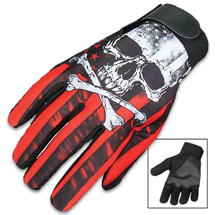 Our Red Skull And Crossbones Mechanic's Gloves are a great alternative to traditional leather gloves and feature a vivid, original Hot Leathers design