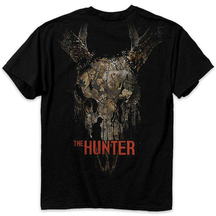 Buckwear The Hunter And Deer Skull Black T-Shirt