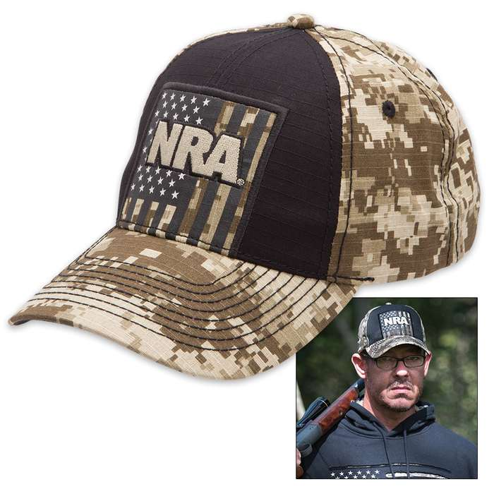 Buckwear NRA Tan Digital Camo USA Cap - Hat