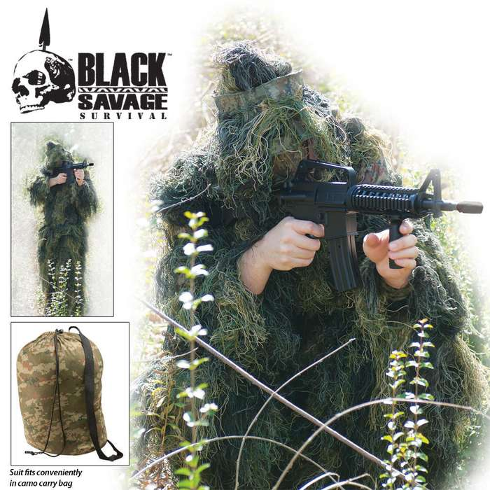 Black Savage Ghillie Suit 5-Pc.Woodland Camo