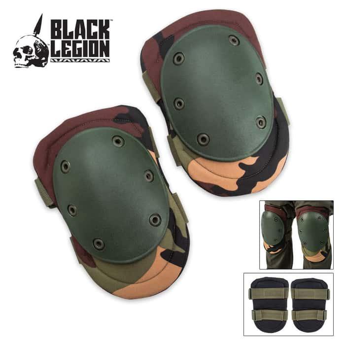 Black Legion Tactical Knee Pads Woodland Camo