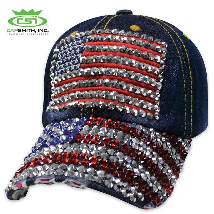 American Flag Denim Bling Cap - Hat