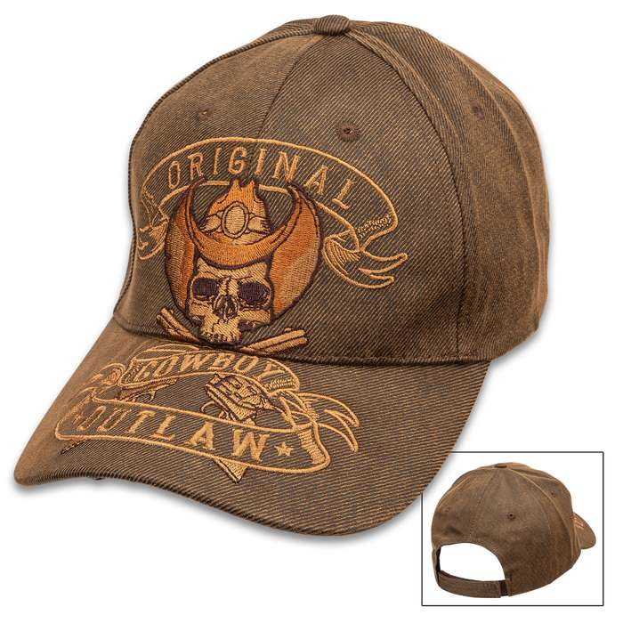 Original Cowboy Outlaw Cap - Oilskin Material, Six-Panel Hat, Embroidered Artwork, Hook And Loop Closure