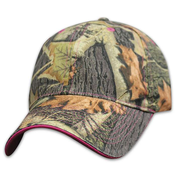 Hunting Camp Camo Pink Trim Cap
