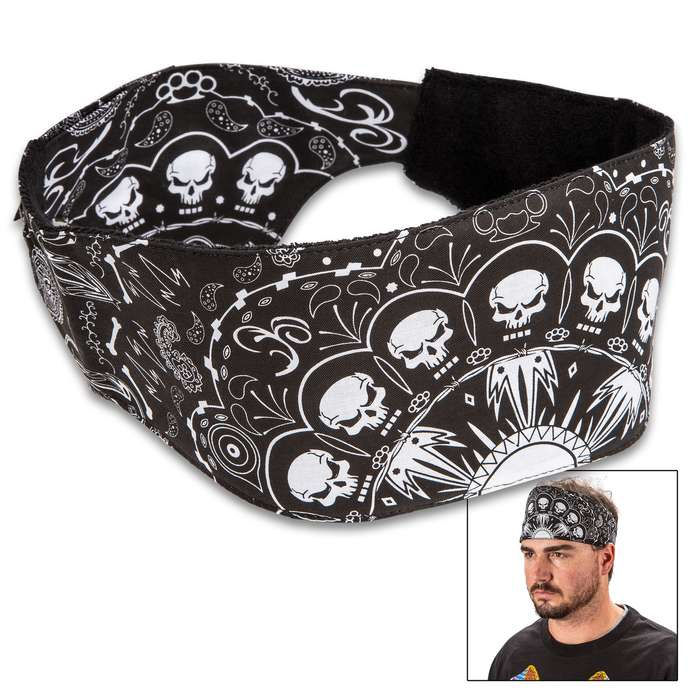 Skull Wire Explosion Chop Top Doo Wrap - Bandana Material, Terrycloth Sweatband, Double-Sided Tail, Hook And Loop Closure