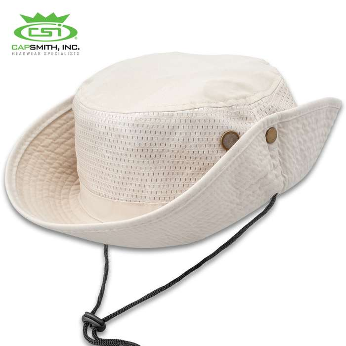 Mesh Jungle Hat - Microfiber Construction, Stone Color, Sweatband, Adjustable Tie String, UV Protection, One Size Fits All