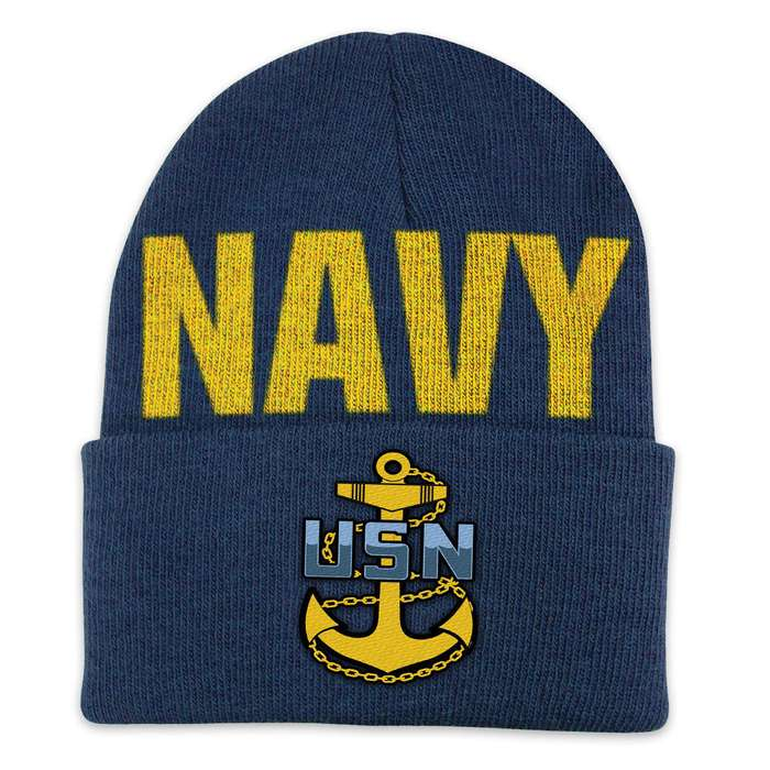 Navy Color Cuff Beanie Hat