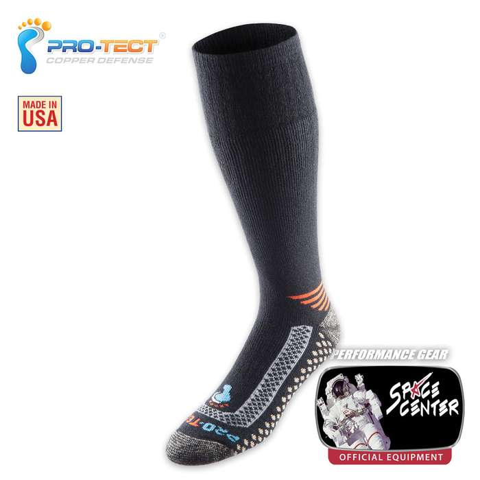 Pro-Tect Foot Defense Over The Calf Sock - Black And Orange