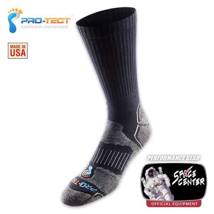 Pro-Tect Foot Defense Hiker Crew Sock - Black And Natural