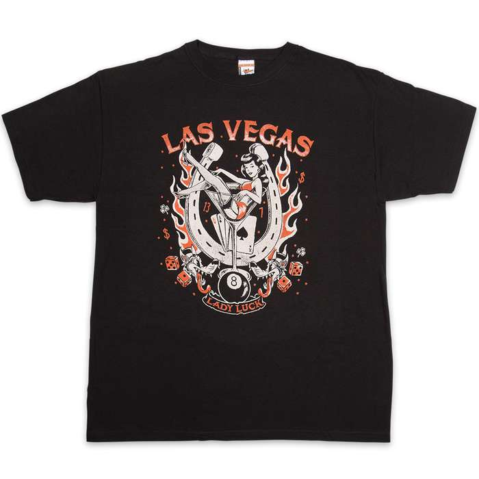 Vegas Lady Luck Black T-Shirt