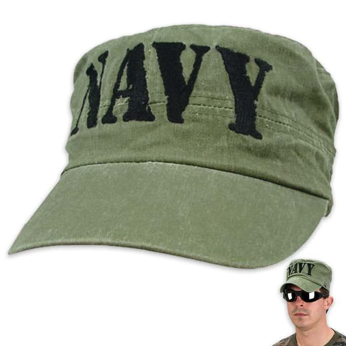 Navy Flat Top Cap